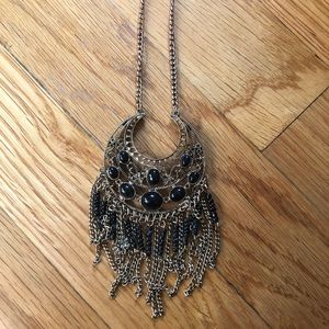 Black and gold boho necklace